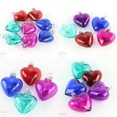 These stunning hearts are made entirely from hand blown glass. Each piece is individually crafted and we have a beautiful assortment of colors and sizes to choose from. Each heart has a hoop at the top for easy hanging. Mexican Home Decor, Hand Blown Glass, Home Decor Items, Hoop, Hearts, Colors, Easy, Beautiful, Colour