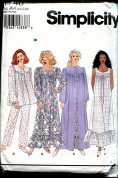 Simplicity 8748 Robe in two lengths, Nightgown, Pajamas Size: BB L-XL Uncut Sewing Pattern Maternity Patterns, Maternity Sewing, Vintage Sewing Patterns, Clothing Patterns, Lingerie Patterns, Sewing Ideas, Sewing Crafts, Sound Of Music Costumes, Retro Fashion
