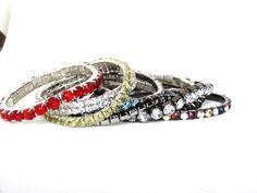 Vintage Rhinestone Bangle Bracelets Red by SellitAgainVintage