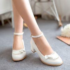 As mulheres redondo Toe Mary Jane Chunky doce Bowknot Lolita chunky saltos sapatos
