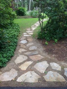 Stone walkway..my design.. Hub's labor