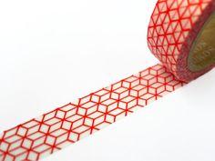 Red Geometric Washi Tape / /  Deco Masking Tape