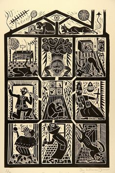'Paranoia House' Linocut By Jay Luttman-Johnson. I like the idea of multiple blocks used, different ways to create a print like this! Lino Art, Woodcut Art, Linocut Prints, Art Prints, Illustrations, Illustration Art, Linoprint, Scratchboard, Arte Popular