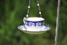 Vintage Flow Blue Tea cup, Bird feeder, Upcycle Garden art, Repurposed Tea cup. $25.00, via Etsy. by clarice
