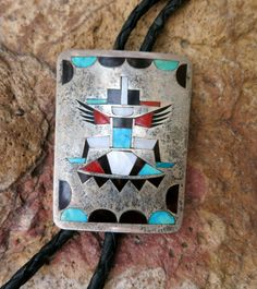 ZUNI KNIFEWING Bolo Tie by NATACHU, Inlay, Vintage Sterling Silver, Bennett Clasp Pat Pend