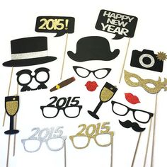 2015 New Years Eve Photo Booth Props -18 pièce nouvelle ans parti accessoires - Accessoires photo GLITTER