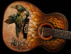 Hand painted guitar, built by Jay Lichty, artwork by Clark Hipolito - to be raffled Oct 21st, 2012 to benefit LEAF