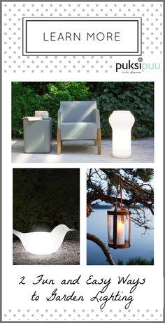 Kaksi helppoa ja hauskaa tapaa puutarhan valaisuun! Vaihtoehtoja löydät täältä: http://www.puksipuu.fi/puutarhasuunnittelu_pihasuunnittelu/Puutarhasuunnittelu_Puksipuu/Merkinnat/2014/9/11_2_helppoa_ja_hauskaa_tapaa_tunnelmavalaisuun.html