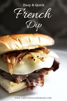 Make this easy and quick tasty French Dip for #dinner on a weeknight. It only takes 20 minutes! It is a #yummy  #dinnertime solution for those busy weeks.