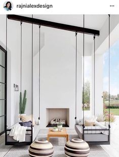 Here is some of my favorite inspiration for outdoor spaces with a modern farmhouse flair. Modern Farmhouse Back Porch - Black Hanging Swings - Modern Outdoor Fireplace - Black and White Back Porch - Home Decor - Home Design - DESIGN: Studio Life/Style Patio Interior, California Homes, California Room, California Style, Design Case, My Dream Home, Dream Homes, Dream Life, Outdoor Spaces
