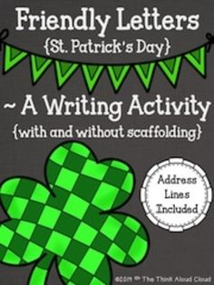 St. Patrick's Day Friendly Letter Templates - Seasonal friendly letter templates that are scaffolded in order to help the students remember all of the parts of a friendly letter. Address lines and fold lines can be copied onto the backs of these pages that include coordinating stamps! We mail letters to friends and former teachers within our school building. {Grades 1-3}  $  #TpT #TeachersPayTeachers #ELA #FriendlyLetterWriting #StPatricksDay