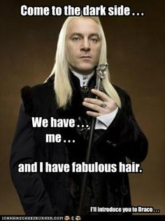 Lucius Malfoy has fabulous hair<< and he'll introduce us to Draco!