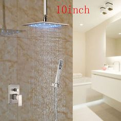 LED Brushed Nickel 10  Square Rain Shower Head Valve Mixer Tap Hand Shower Tap | eBay