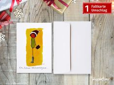 Faltkarte Eva - New Ideas Shops, Funny Character, Illustration, Playing Cards, Etsy Shop, Characters, Comic Drawing, Xmas Cards, Yellow