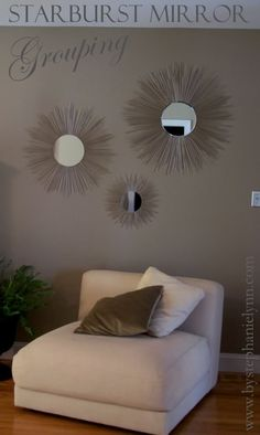 If you've ever taken note of how expensive mirrors are, you're gonna want to check this out! Starburst mirrors are a gorgeous way to add drama and light to a room! This is an easy way to pull of this trendy decorating idea on the cheap! Decor, Starburst Mirror, Home Projects, Trendy Decor, Deco, Home Decor, Home Deco, Starburst, Sunburst