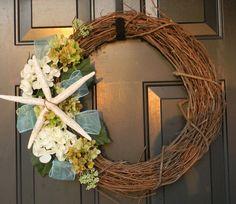 Seashell Wreath  Coastal Decor Starfish by AdariaHomeAccents, $45.95