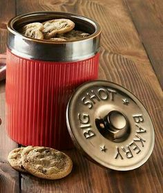 Shotgun Shell Canister Kitchen Accessory and Western Decor, Country Decor, Kitchen Dining, Kitchen Decor, Kitchen Ideas, Bullet Crafts, Kitchen Canisters, Kitchen Ware, Man Cave Home Bar