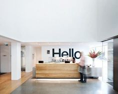 Welcoming wall graphic | interior graphics, interior design, office interiors, signage, wall decal, reception sign