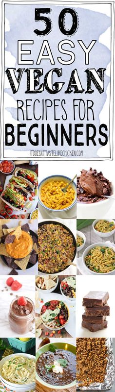 50 Easy Vegan Recipes for Beginners! Breakfast, snacks, mains, and desserts. All super easy and quick. Perfect for new cooks and new vegans. #itdoesnttastelikechicken #veganrecipes #vegan #easyvegan via @bonappetegan