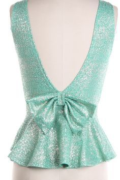 Sparkly Bow Back Peplum Top