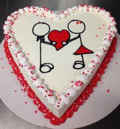 Valentine's Day DQ heart ice cream cake with stick figures