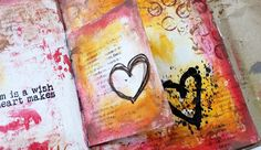 """* Rubber Dance Blog *: """"A Dream is a Wish..."""" Art Journal Spread Tutorial, Mixed media art journaling step by step with lots of layers"""
