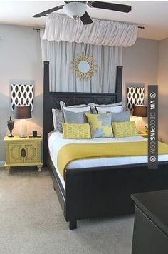 So good! - Wonder what it would look like to have just the curtain with no headboard.  Cheap way to add lots of texture and color. | CHECK OUT MORE MASTER BEDROOM IDEAS AT DECOPINS.COM | #masterbedroom #bedroom #bedrooms #homedecor #beds #interiordesign #home #homedecoration #design