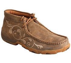 Blending together a traditional open-laced design with a unique leather-wrapped outsole, these casual chukka driving mocs set you on the road to comfort. From Twisted X. Women's Shoes, Me Too Shoes, Shoe Boots, Leather Boots, Brown Leather, Twisted X Boots, Western Shoes, The Ranch, Casual Shoes