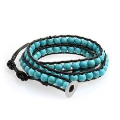 Bling Jewelry Brass Turquoise Gemstone Leather Wrap Surf Bracelet 24in