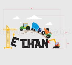 Construction Scene and Custom Name Tractor Truck by InAnInstantArt