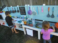 The kids will love this DIY Outdoor Play Kitchen and it's the perfect spot for making mud pies and great memories!