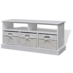 White Hallway Storage Bench 3 Drawers Baskets Entryway Cabinet Bathroom Bedroom