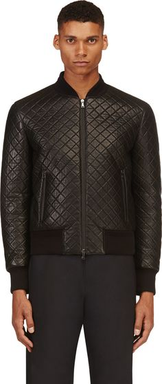 Neil Barrett: Black Quilted Leather Bomber Jacket