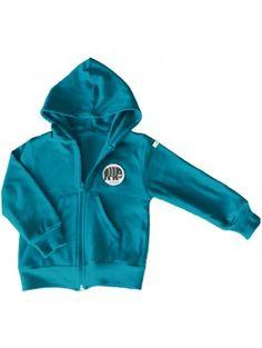 Sweat zippé, à capuche, interlock de coton bio bleu électrique doublé