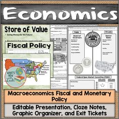 Macroeconomics Fiscal and Monetary Policy Notes, Presentation, and Fed Organizer Middle School Ela, High School, Federal Budget, Monetary Policy, Social Studies Classroom, Secondary Teacher, Exit Tickets, School Subjects, New Teachers