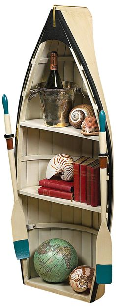 This shelf will go in my dream cabin on the lake - the one with the dock. :-) | Dory with Glass Bookshelf Table -