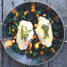 AIP One Dish: 8 min to oven! 2 bunches kale chopped. 1 cup each butternut squash and garnet yam. Toss above in 1/2 cup olive oil. 2 chicken breasts coated with cultured ghee and sprigs of thyme. I topped with truffle salt. Roast 50 min. At 375 uncovered in oven