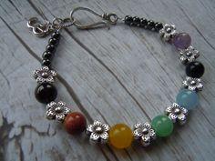 Chakra Balancing Silver Flower Om Bracelet  - Chakra Jewelry - Yoga Jewelry