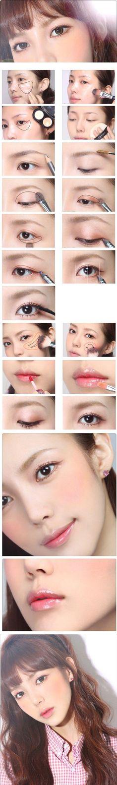 47 Ideen Make-up Asian Eyes Makellose Haut Asian Eye Makeup, Pink Eye Makeup, Korean Makeup, Nude Makeup, Hair Makeup, Orange Makeup, White Makeup, Makeup Eyeshadow, Natural Wedding Makeup