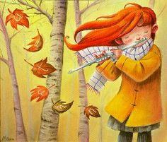 Flute in autumn wind... ~ by Monica Armino http://monicaarminoillustration.blogspot.com