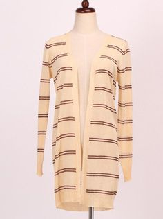 Elegant Collarless Long Sleeve Striped Thin Cardigan For Women