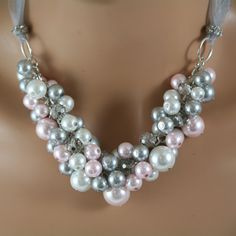 Chunky bridal necklace in pearls of white pink and by bazinedezine, $28.00