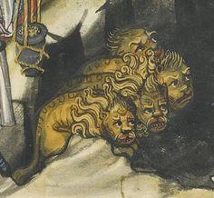 Lions' den. Rudolf von Ems, Weltchronik, Regensburg ca. 1400-1410. LA, The J. Paul Getty Museum, Ms. 33, fol. 214r