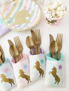 Unicorn utensil pouches