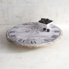 clock wooden lazy susan