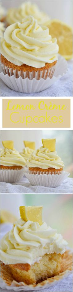 Easy Lemon Cupcakes topped with Creamy Lemon Buttercream Frosting made with Lemon Crème pie filling. A quick and easy lemon dessert!