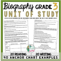 Biography Reading and Writing Unit: 40 Lessons with CCSS!! Teach Common Core State Standards in Biography writing and reading with this month long unit of study. It includes 40 lessons all linked to CCSS, chart examples, and much more!