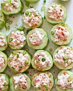 """Cucumber Cups Stuffed with Spicy Crab - These were the BOMB! Have to admit that I used fake """"krab"""", but it was still delicious! St Patrick's Day Appetizers, Appetizer Recipes, Irish Appetizers, Cucumber Appetizers, Crab Appetizer, Appetizer Party, Cucumber Recipes, Party Recipes, Dinner Recipes"""