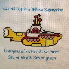 Beatles yellow submarine cross stitch (lettering with DMC Satin thread) (abc) Cross Stitch Music, Cross Stitch Letters, Cute Cross Stitch, Cross Stitching, Cross Stitch Embroidery, Hand Embroidery, Beatles Lyrics, Nifty Crafts, Stitch Cartoon