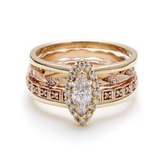 Compliments and Layers- Attelage Yellow Gold Marquis Diamond Ceremonial Set
